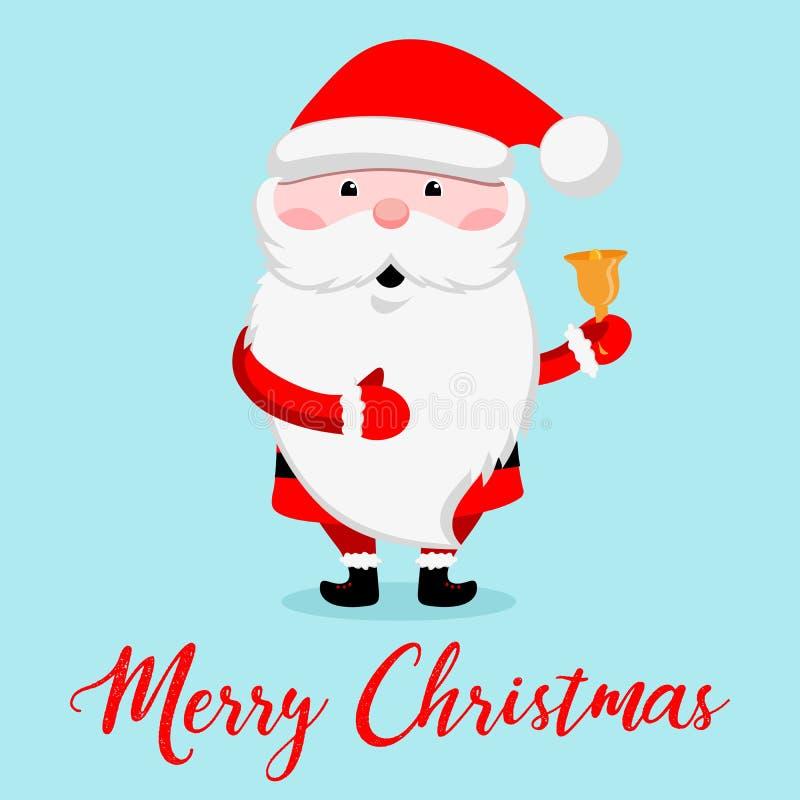 Santa Claus divertente con una campana Cartoline d'auguri di progettazione del nuovo anno e di Natale Illustrazione di vettore illustrazione vettoriale
