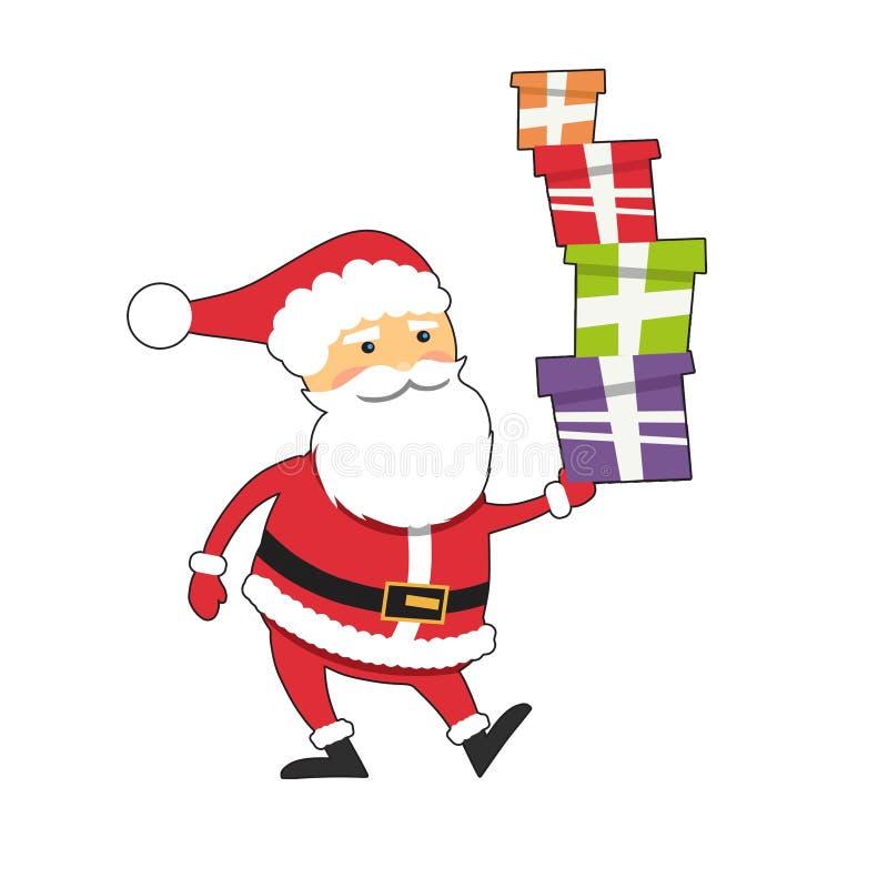 Santa Claus divertida con las cajas de regalo de Navidad libre illustration