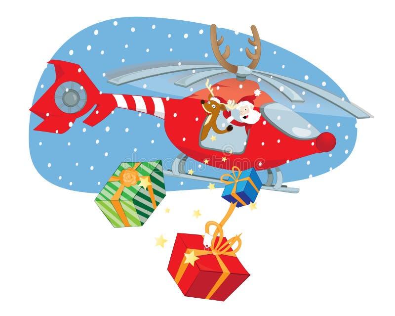 Santa Claus divertida y reno que entregan los regalos en un helicóptero rojo stock de ilustración