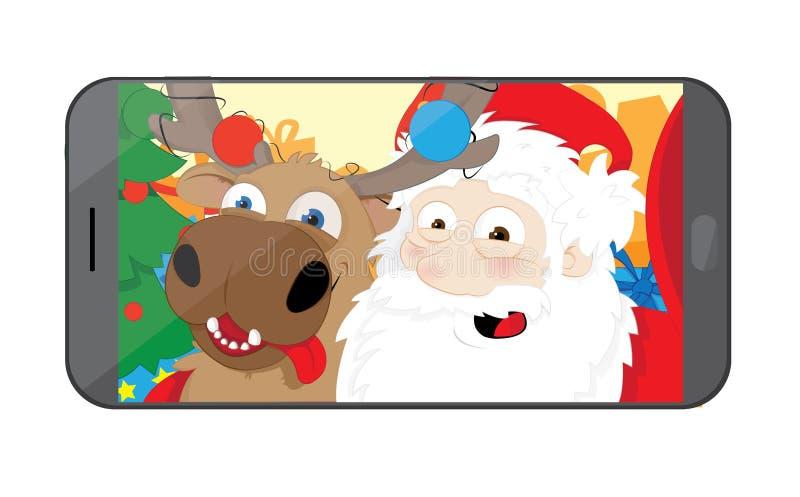 Santa Claus divertida y reno que toman un selfie en su taller libre illustration