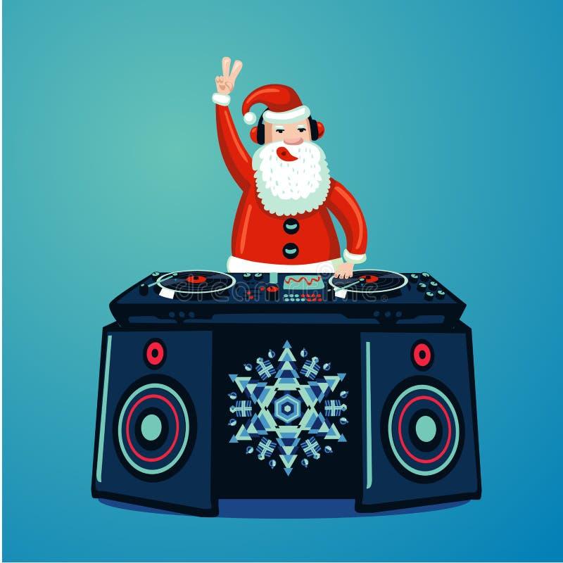 Santa Claus DJ met vinyldraaischijf De partijaffiche van de Kerstmismuziek De muziek van de nieuwjaarnachtclub toont royalty-vrije illustratie