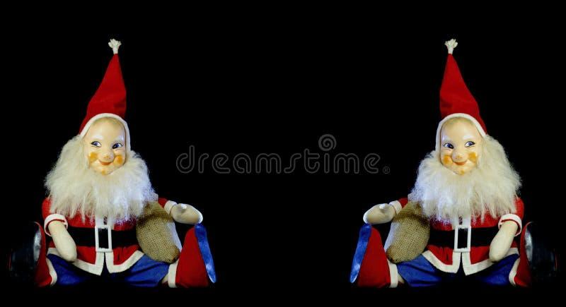 Santa Claus doce no vintage-modell no fundo preto Espaço do texto no meio imagens de stock royalty free