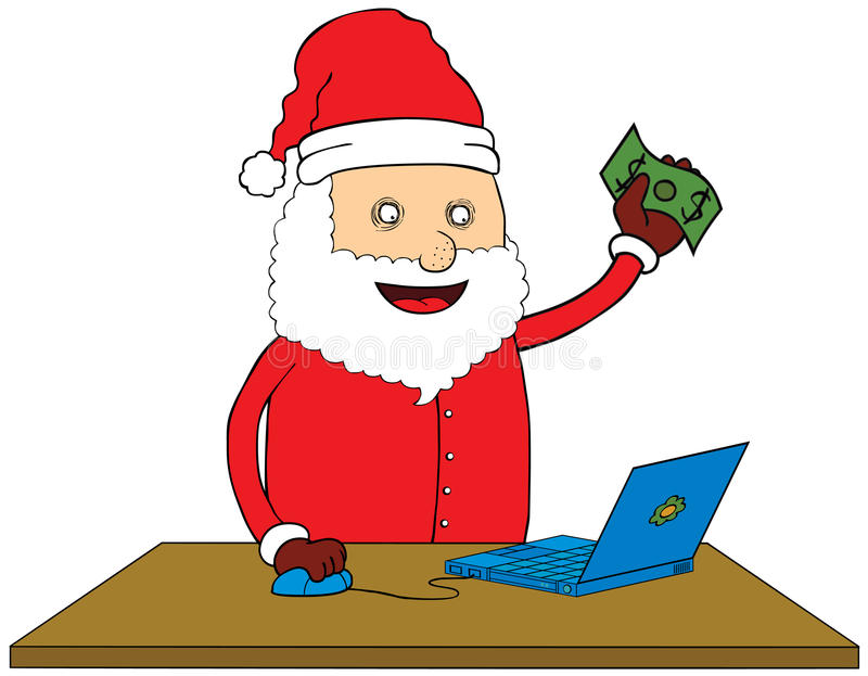 Santa Claus doing online shop stock illustration