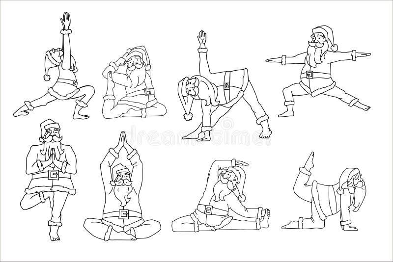 Santa Claus doing yoga pose doodle set. Line art. Vector illustration on white background. vector illustration