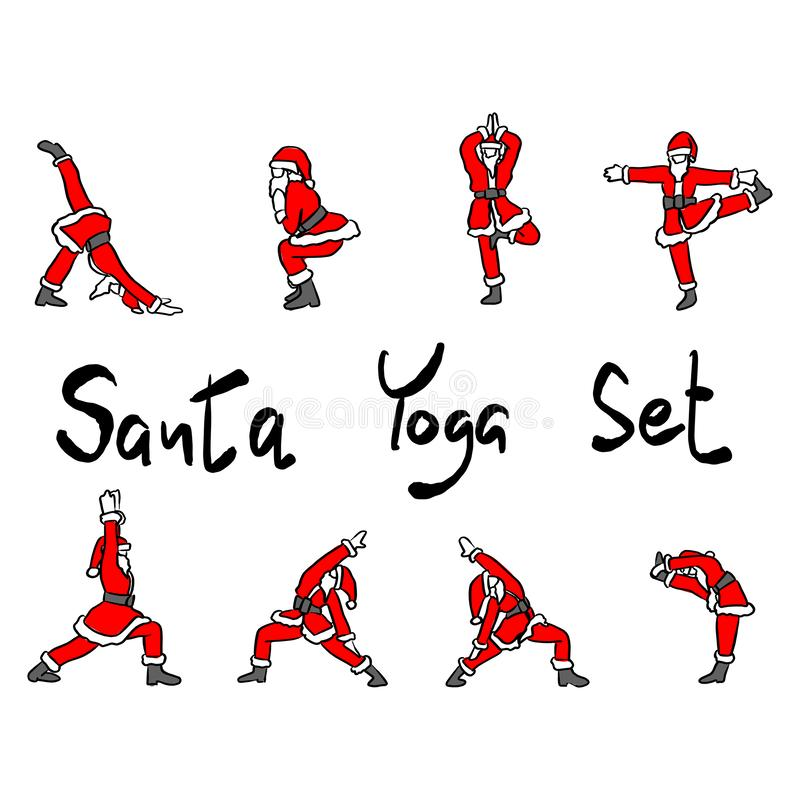 Santa Claus doing yoga set vector illustration sketch doodle hand drawn with black lines isolated on white background.  stock illustration