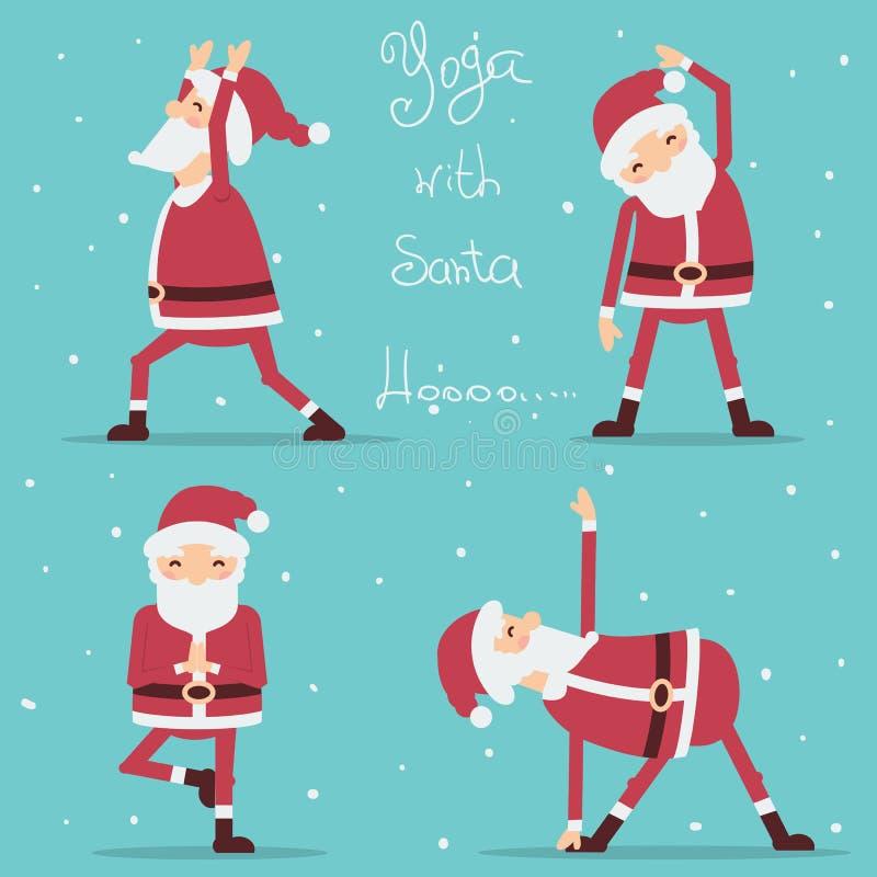 Santa Claus doing yoga. Vector illustration stock illustration