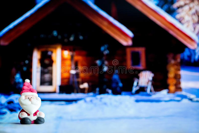 Santa Claus doll in house background.Colorful Christmas Symbol .Using as wallpaper or backgrounds.Ready for Merry Christmas or Hap. Py new year 2019.Xmas 2019 royalty free stock photography