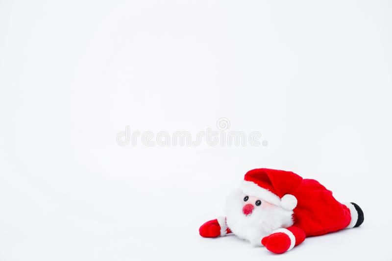 Santa claus doll on isolated on white background,Christmas decoration. Santa claus doll on isolated on the white background,Christmas decoration royalty free stock photography