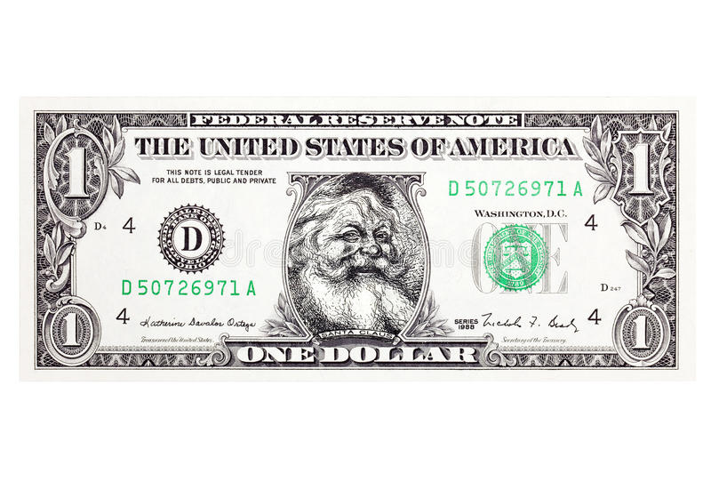 Santa Claus Dollar with clipping path royalty free stock image