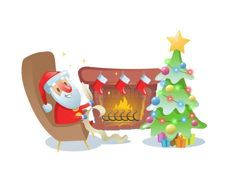 Santa Claus drôle écrivant une lettre par la cheminée sous l'arbre de Chrismas Illustration plate de vecteur D'isolement sur le b illustration libre de droits