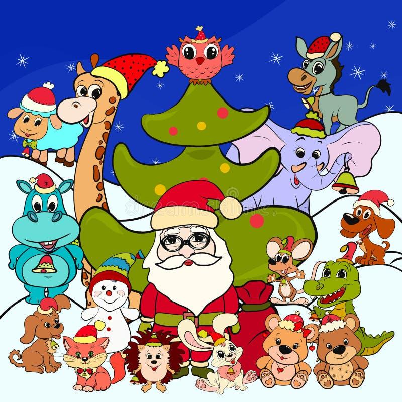 Santa Claus drôle avec des cadeaux et des animaux illustration stock