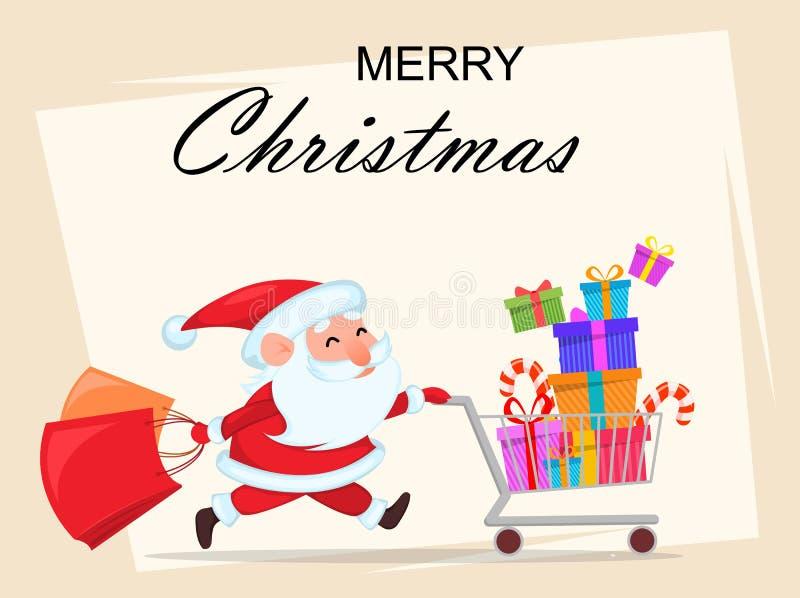 Santa Claus drôle courant avec le caddie illustration de vecteur