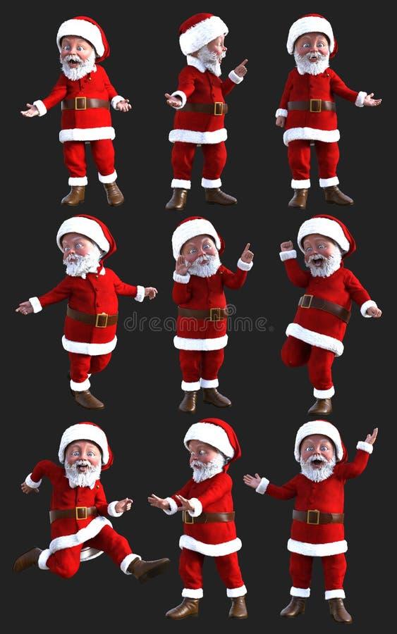 Santa Claus drôle dans diverses actions avec le chemin de coupure illustration libre de droits