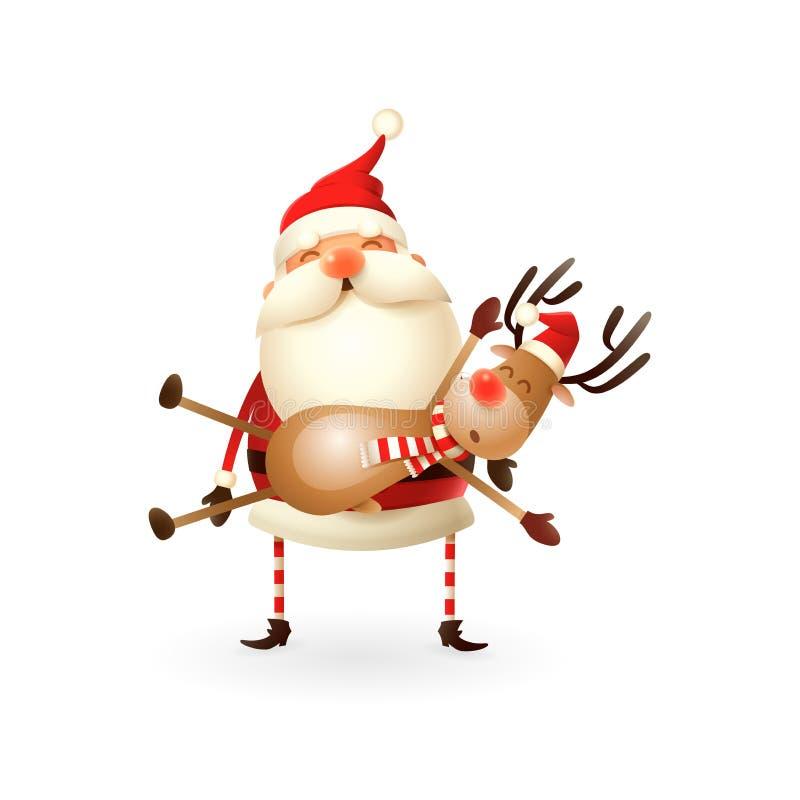 Santa Claus draagt een Rendier op zijn handen - Gelukkige leuke illustratie stock illustratie