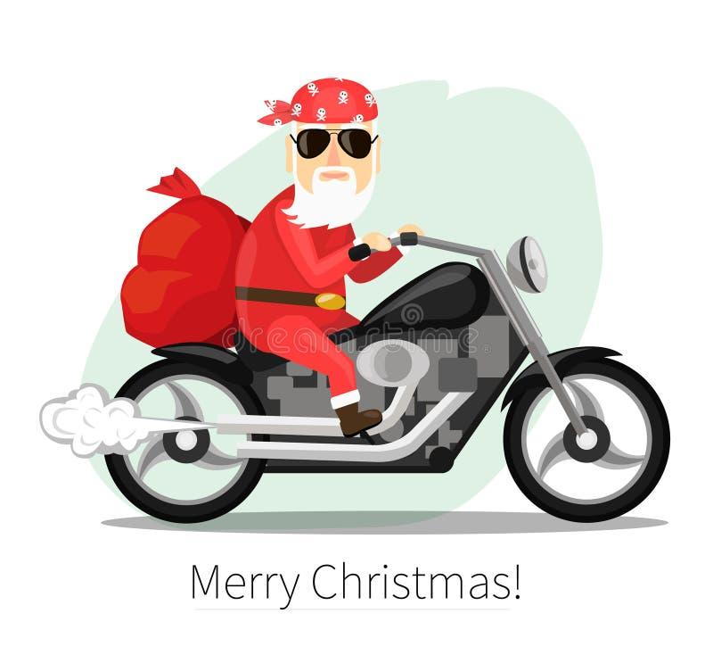 Santa Claus draagt een zak van giften op koele motorfiets stock illustratie