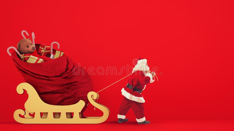 Santa Claus drags a large sack full of gifts with a golden sleigh on a red background stock images