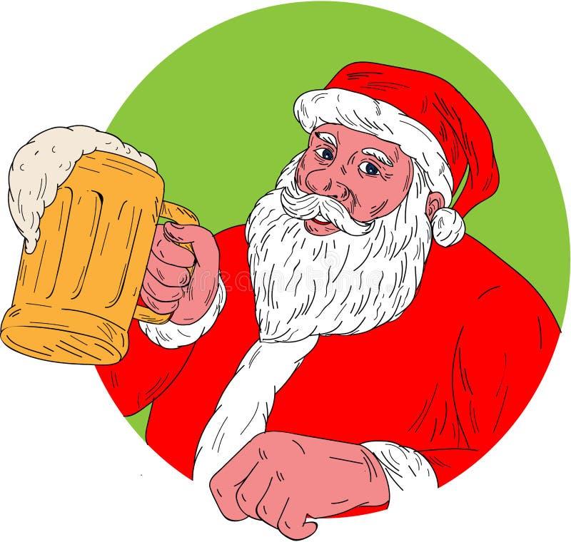 Santa Claus Drinking Beer Drawing stock de ilustración