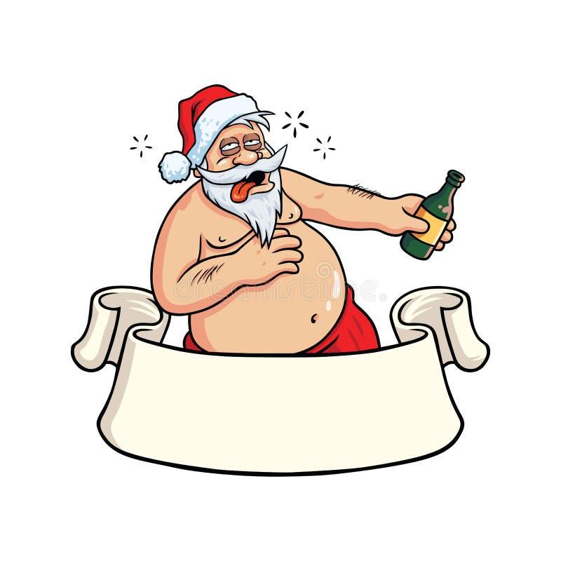 Santa Claus Drinking Booze borracha Vector de la tarjeta de felicitación de la Navidad stock de ilustración