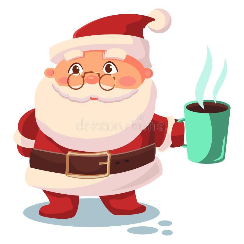 Santa Claus drinks coffee vector cartoon character royalty free stock photo