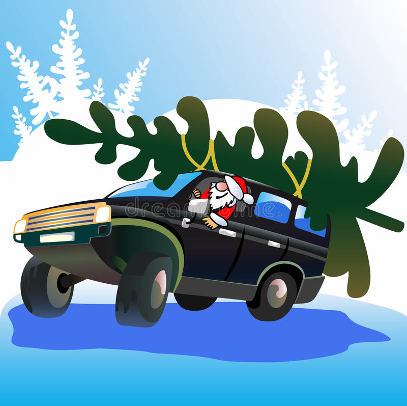 Santa Claus drives Christmas tree. royalty free illustration
