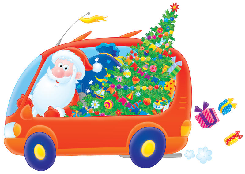 Download Santa Claus Drives In His Car Stock Illustration - Image: 17259379