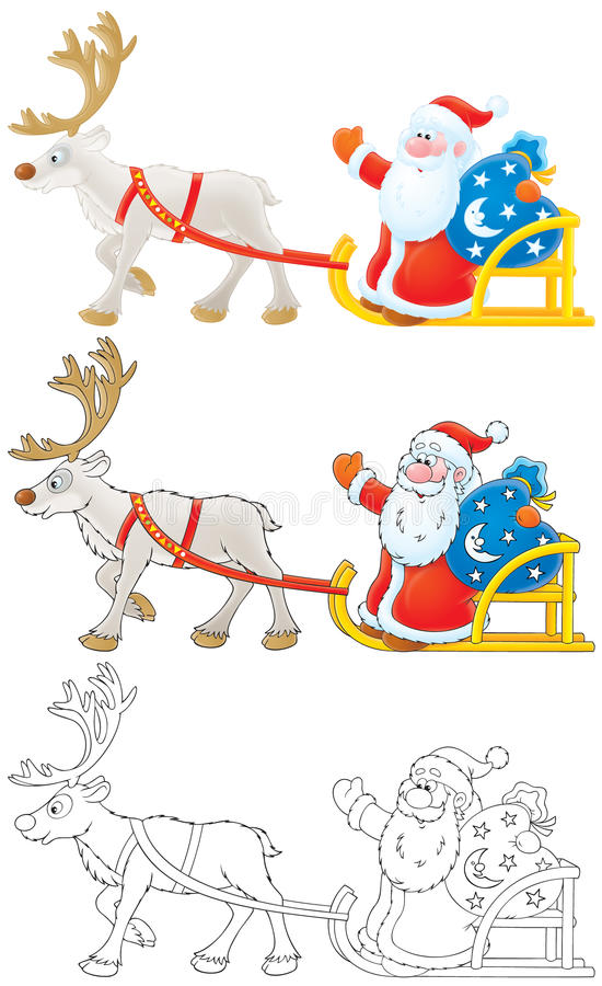 Download Santa Claus Drives In Sleigh With Reindeer Stock Illustration - Image: 11640021
