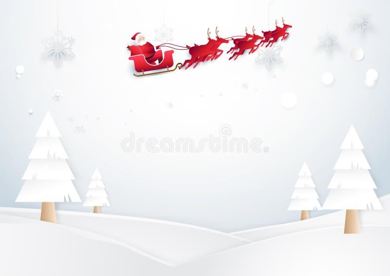 Santa Claus Driving In een Slee De achtergrond van Kerstmis vector illustratie