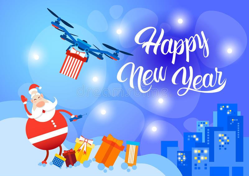 Download Santa Claus Drone Delivery Present, Cartão Do Feriado Do Natal Do Ano Novo Ilustração do Vetor - Ilustração de cartão, felicidade: 80102659