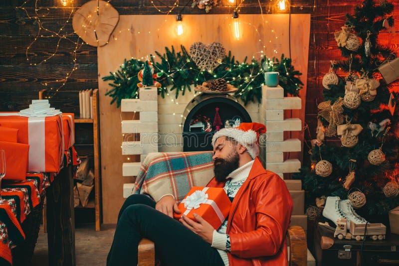 Santa Claus Drunk nytt år för mood Julberömferie Parti för nytt år Drucken jultomten Parti för nytt år royaltyfria foton
