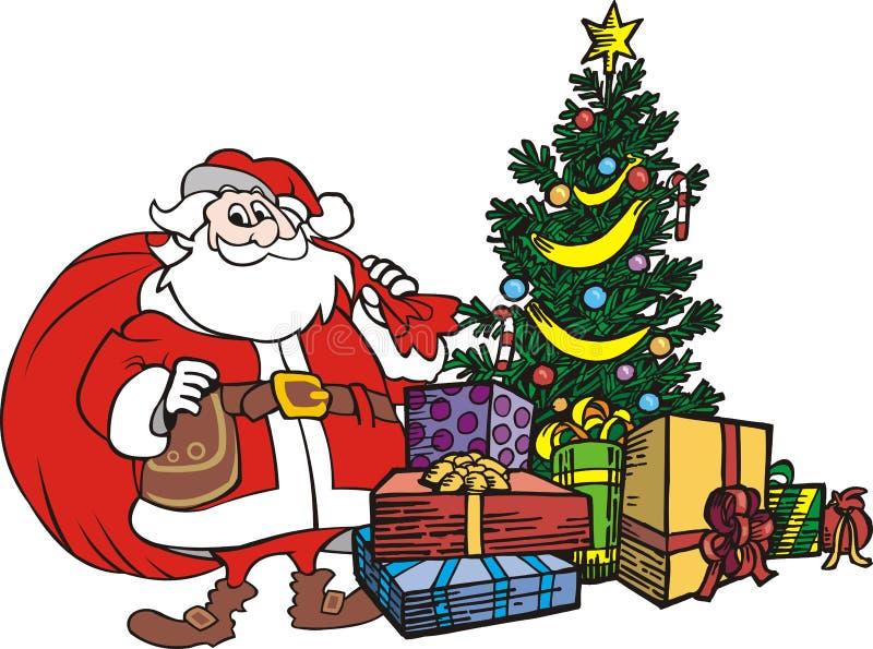 Santa claus drzewa świąt ilustracji