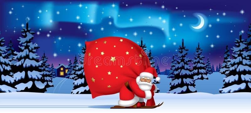 Santa Claus durch Ski mit einem roten großen Sack stock abbildung