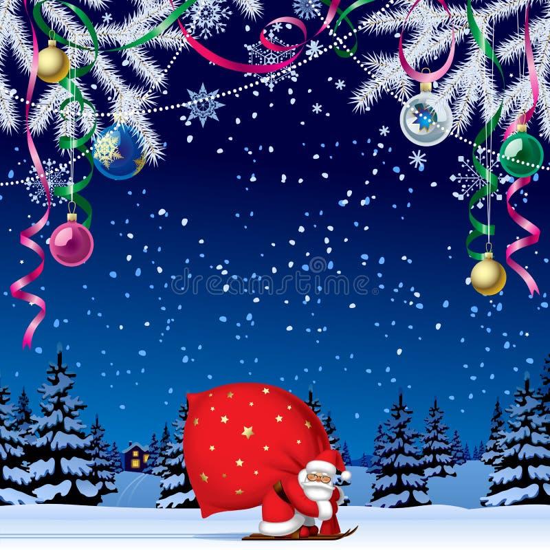 Santa Claus durch Ski mit einem roten großen Sack lizenzfreie abbildung
