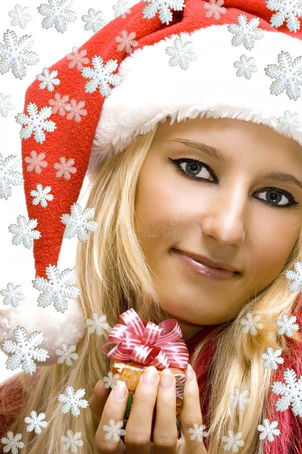 Santa claus dziewczyny nosić kapelusz obrazy royalty free