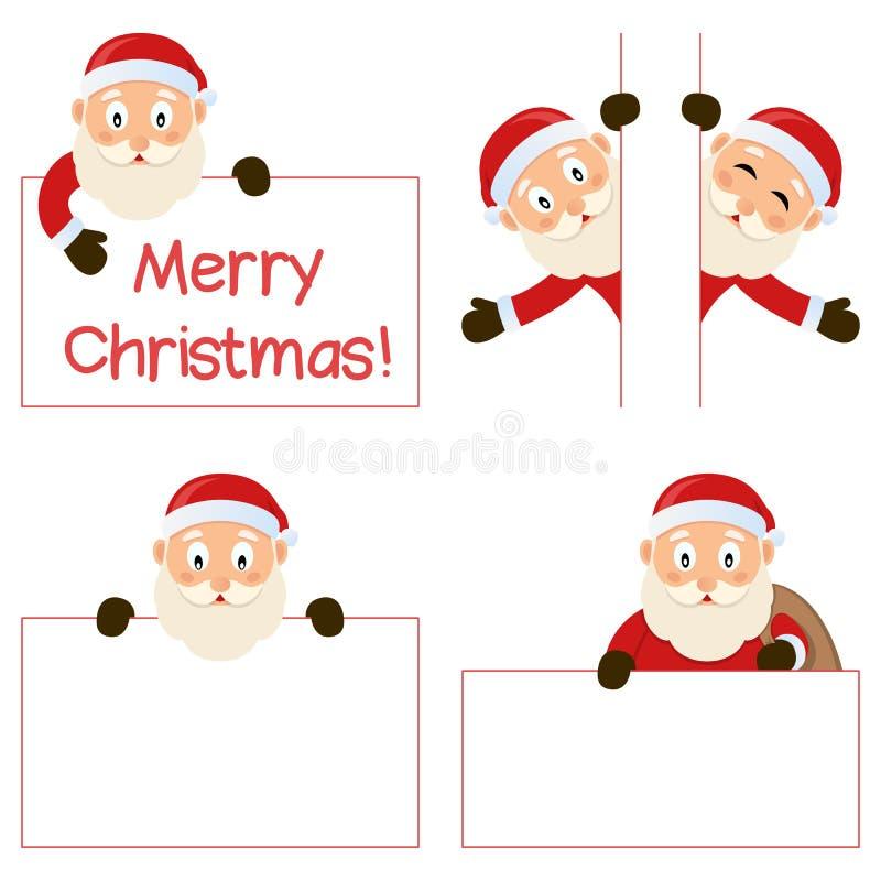 Santa Claus e bandeiras ajustadas ilustração royalty free