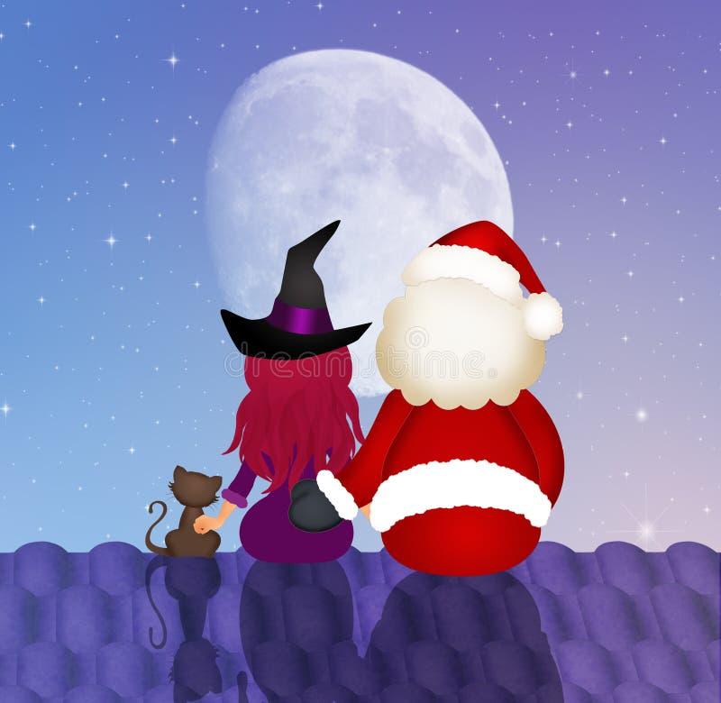 Santa Claus e bruxa no telhado ilustração do vetor