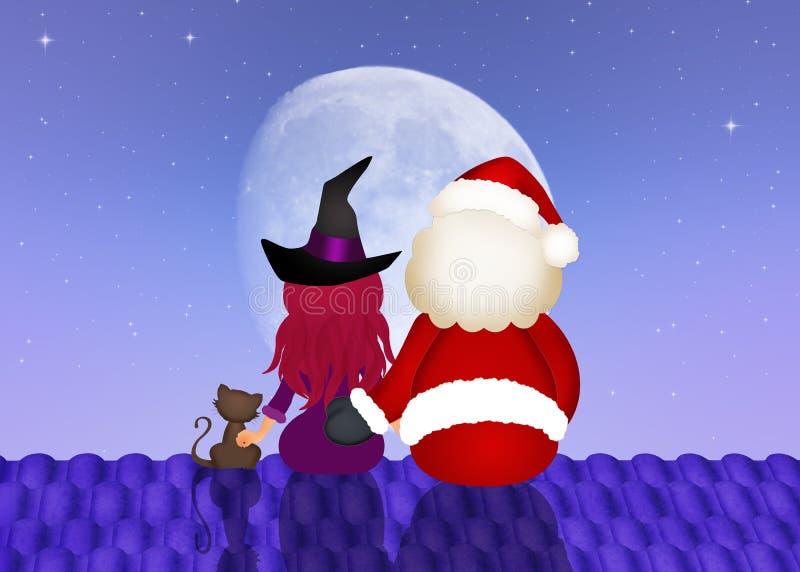 Santa Claus e bruxa no telhado ilustração royalty free