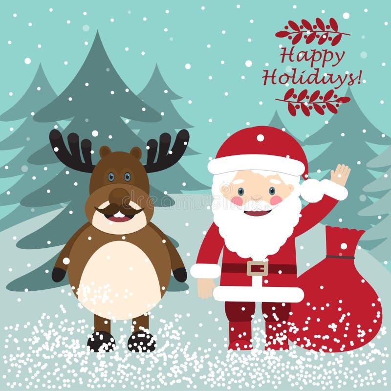 Santa Claus e cervi divertenti Cartolina di natale illustrazione vettoriale