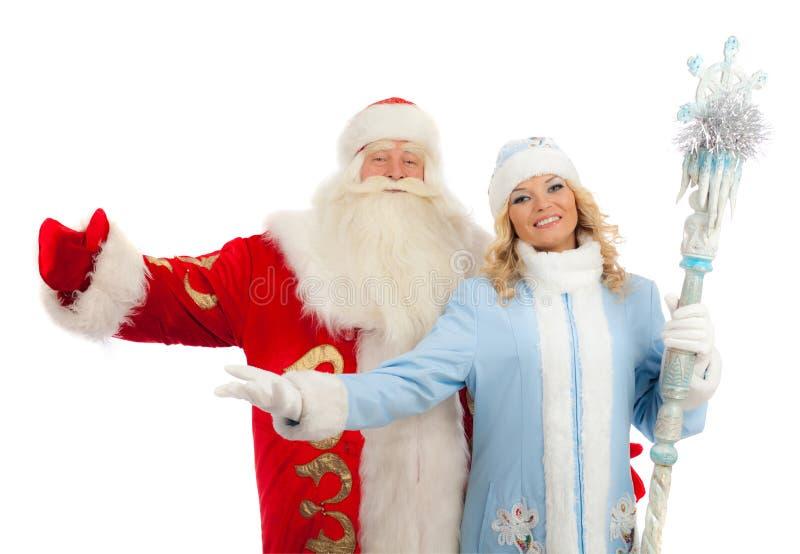 Santa Claus e donzela da neve imagem de stock royalty free