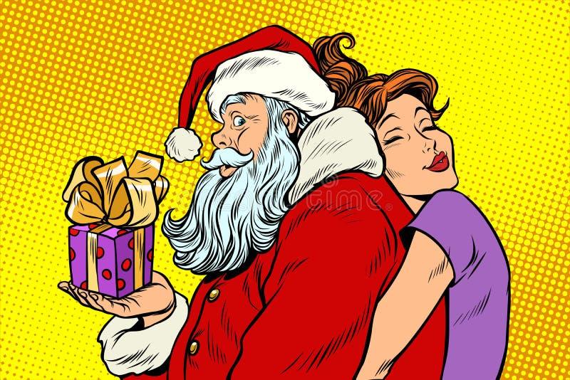 Santa Claus e mulher bonita, um presente do Natal da surpresa ilustração stock