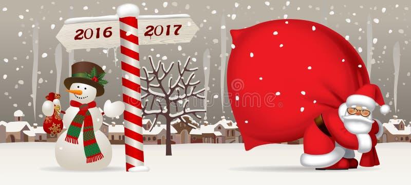 Santa Claus e o boneco de neve com um ano novo assinam ilustração royalty free