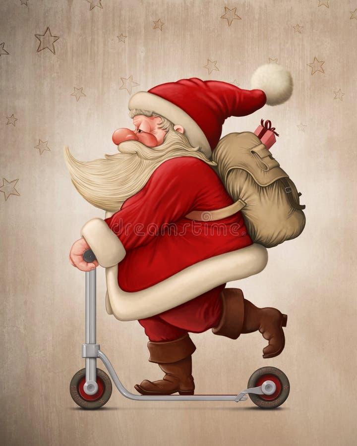 Santa Claus e o 'trotinette' do impulso ilustração do vetor