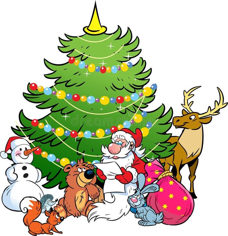 Santa Claus e os animais da floresta ilustração royalty free