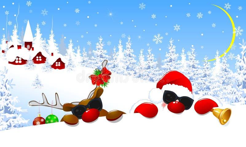 Santa Claus e renna nei vetri Il cervo è decorato con le palle di Natale e un arco rosso Santa e cervi su fondo illustrazione di stock