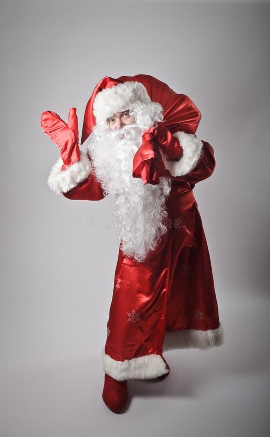 Santa Claus e saco fotos de stock