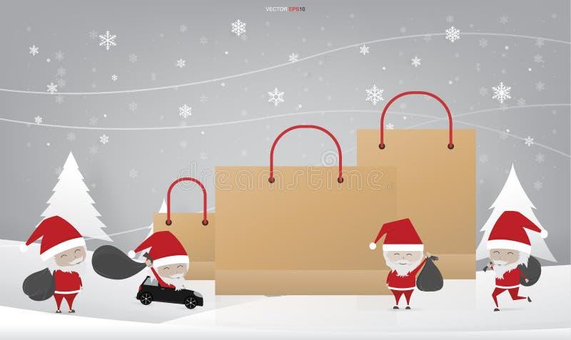Santa Claus e saco de compras para anunciar o fundo da bandeira ilustração stock