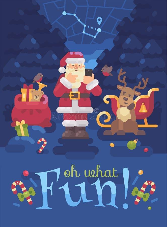 Santa Claus e sua rena perderam sua maneira na floresta e Santa está tentando encontrar seu lugar com GPS em seu smartphone ilustração stock
