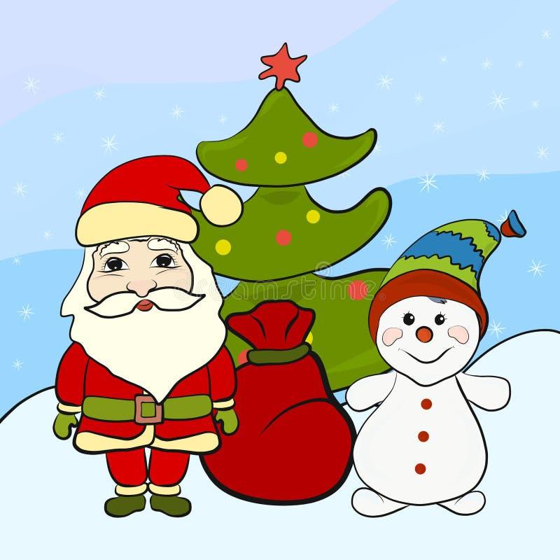 Santa Claus e um boneco de neve engraçado perto da árvore de Natal ilustração stock