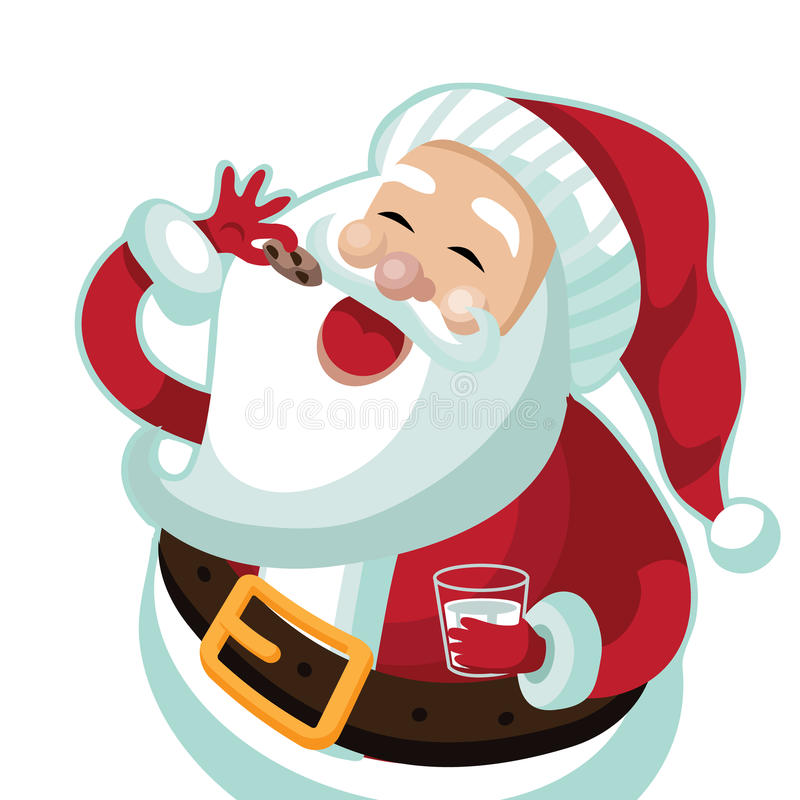 Santa Claus eating a Christmas cookie stock illustration