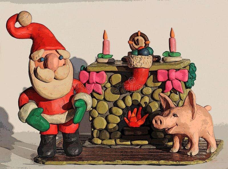 Santa Claus ed il maiale dal camino illustrazione di stock
