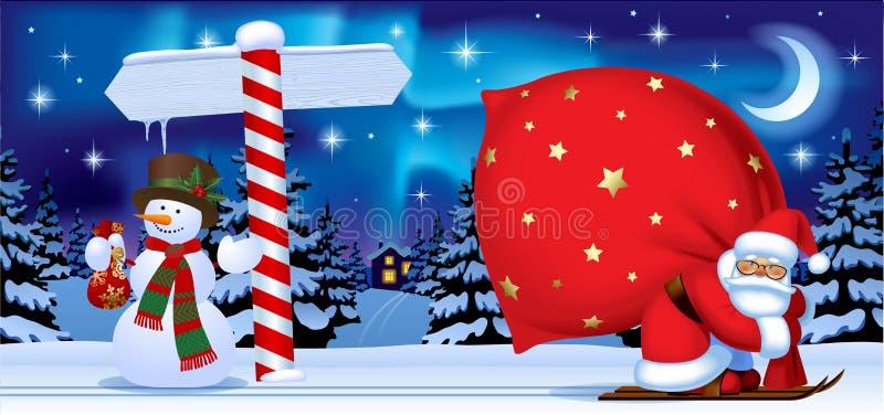 Santa Claus ed il pupazzo di neve con un nuovo anno firmano dentro i wi di notte royalty illustrazione gratis